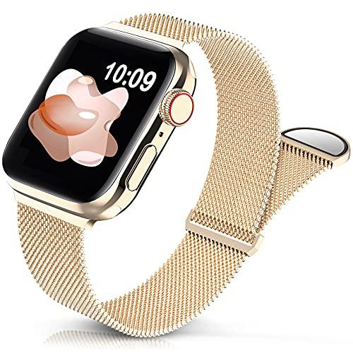 Jiamus Pulsera de metal compatible con Apple Watch, 38 mm, 40 mm, 42 mm, 44 mm, clásica, de acero inoxidable, malla metálica, con imán, compatible con iWatch Series 6 5 4 3 2 1 SE para hombre y mujer