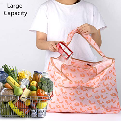 Reusable Shopping Bags, Foldable Grocery Bags, Reusable Grocery Tote Bags With Pouch Attached, Ripstop Polyester, Washable Lightweight(2 Large and 3 Medium)