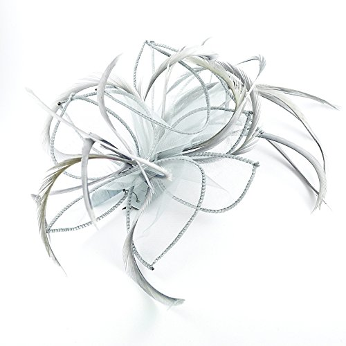 Silver Grey Chiffon & Feather Plume Fascinator on Comb by Chelsea Jones