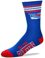 For Bare Feet NHL 4 Stripe Deuce Crew Men Socks-New York Rangers-Large (10-13)