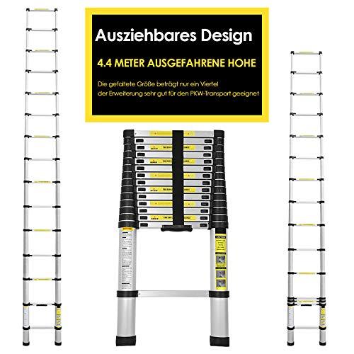 Karpal 4.4m Teleskopleiter Klappleiter mit Stabilisator Ausziehbare Leiter Hochwertigem Klappleiter und Faltbaren Hohe Sicherheit Flexibel Leiter für Haushalt Dachboden