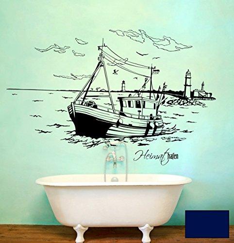 Wandtattoo Wandaufkleber Warnemünde Leuchtturm maritim M1487 - ausgewählte Farbe: *Dunkelblau* ausgewählte Größe:*S 80cm breit x 46cm hoch