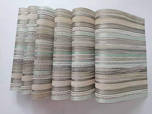 Manteles Individuales Juego de 6 Lavables Manteles Individuales PVC de Esteras Resistentes al Calor Antideslizante Fácil de Limpiar y Impermeable 45 x 30cm(azul )