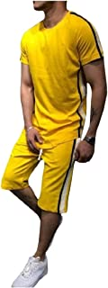 RkBaoye Men's Lounge Pinstripe Short Sleeves 2 Piece Patched Tracksuit Outfit