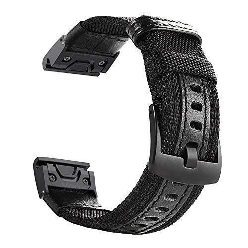YOOSIDE für Fenix 6X/Fenix 5X QuickFit Armband, Nylon Ersatz Uhrenarmband Armbänder für Garmin Fenix 5X/5X Plus,Fenix 6X Pro/Sapphire,Enduro,Tactix Delta,Schwarz