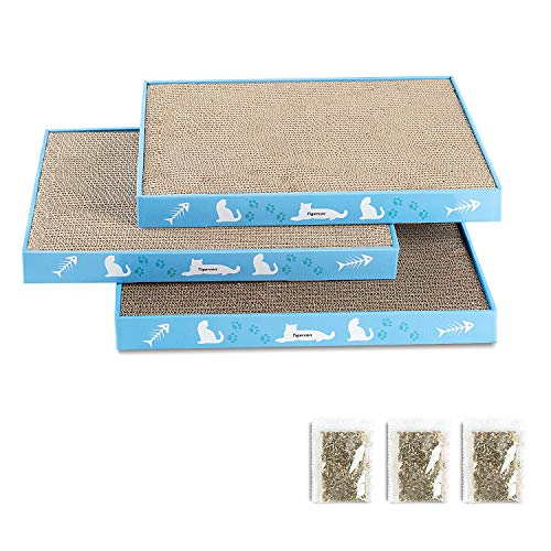 CANAGER Cat Scratchers Cardboard Anti Scratching Mat for Cats Large Cat Scratcher Furniture Protector Double Side Kitty Scratching Pad with Catnip