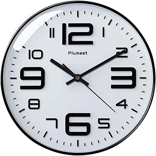 Plumeet Reloj de Pared Silencioso, Reloj de Cuarzo sin Tic-TAC con Batería de 30cm, Diseño Moderno Apto para Decorar Hogar Oficina Escuela (Blanco)