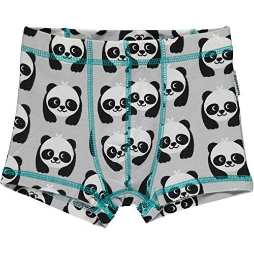 Maxomorra Jungen Boxershort Grau Panda Bär GOTS Bio Unterhose - Größe: 134/140
