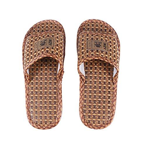 Happyyami Pantofole di Paglia Pantofole Punta Aperta Uomo Antiscivolo Slip on Pantofole Infradito Casa Bagno Spa Sandalo Estivo per Donna Uomo