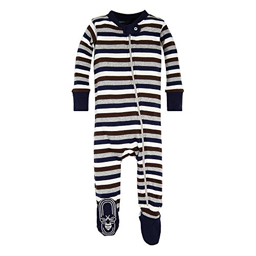 Burt#039s Bees Baby baby boys Unisex Pajamas Zipfront Nonslip Footed Pjs Organic Cotton and Toddler Sleepers Navy Multi Stripe 24 Months US