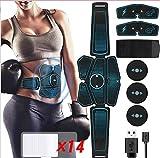 Hieha EMS Training Bauchmuskeltrainer Elektrische Muskelstimulator USB Wiederaufladbar Trainingsgerät für Arm Bauch Beine Bizeps Trizeps 6 Modi 10
