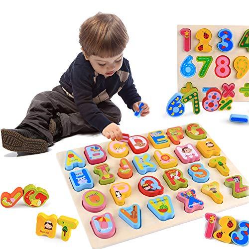 3T6B Puzzle Madera 2 Pcs, Colorido Alfabeto ABC Cartas Números Formas Rompecabezas Madera Puzzles Bloques construcción apilables para niños Edad Preescolar, educación y Desarrollo la Primera Infancia