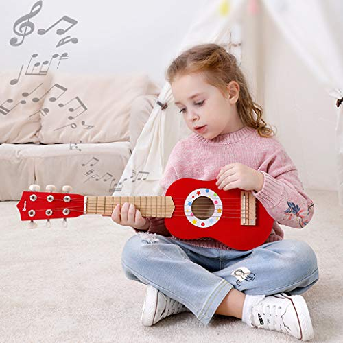 XGao Kids Guitar, 21Inch Acoustic Toy Wooden Guitar for Kid Girls Boys Beginners Childs Children Best Gifts Girl Boy (Red)