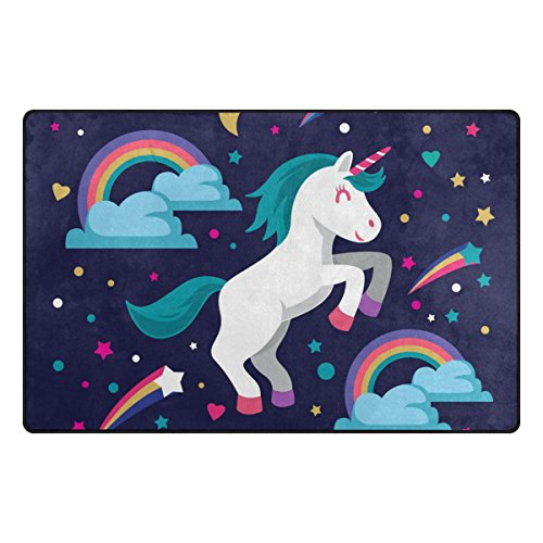 Bennigiry - Alfombra muy suave y moderna con estampado de unicornio, para sala de estar, dormitorio y habitación de niños, 79 x 51 cm, poliéster, Multicolor, 31 x 20 inch