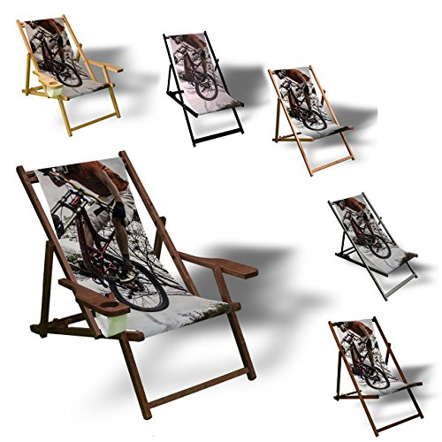 Printalio - Downhill - Liegestuhl Bedruckt Balkon Garten Sonnenliege Relax Holz Terrasse   Kinderliegestuhl, Dunkelbraun