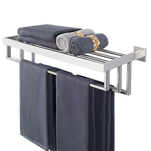 Alise Bathroom Lavatory Towel Rack Towel Shelf with 3 Towel Bars Wall Mount Towels Storage Holder,GOY8003-LS 24-Inch SUS 304 Stainless Steel Brushed Nickel Finish