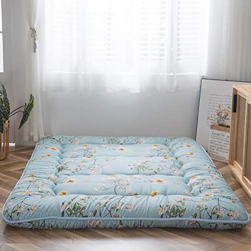 Rustic Floral Korean Floor Mattress Japanese Futon Mattress, Memory Foam Foldable Bed Roll Up Camping Mattress Floor Lounger Bed Couches and Sofas Mattress Topper Twin Size