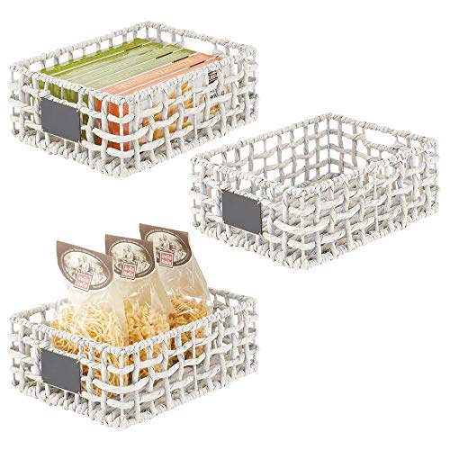 mDesign Water Hyacinth Open Weave Pantry Basket Bin with Built-in Chalkboard Label for Household Storage in Closet, Bedroom, Bathroom, Entryway, Office - 3 Pack - White Wash
