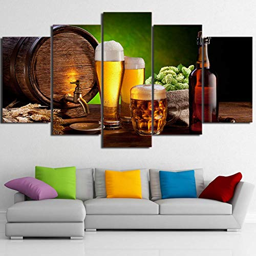 MZNE 5 Dipinti su Tela HD Stampato barile di Birra Bottiglia Hop Malt House Pittura Stampa su Tela Room Decor Stampa Poster Immagine 5 Pezzi Tela