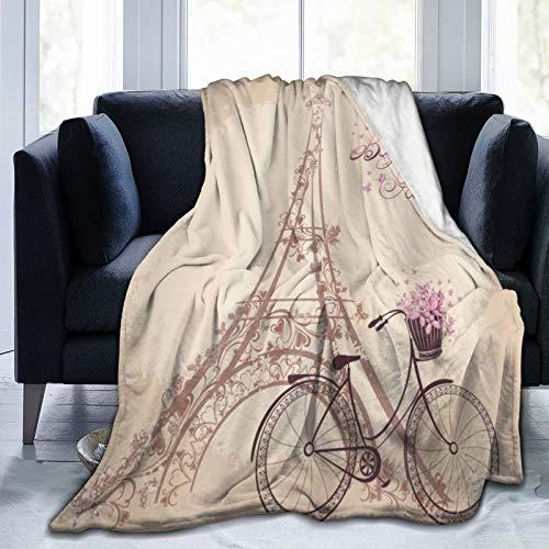 ZOMOY Manta de Franela Suave,Bonjour Paris Torre Eiffel y Bicicleta Vintage con Flores Color Suave Retro Lámina artística,Cama de Camping para sofá 127x102cm