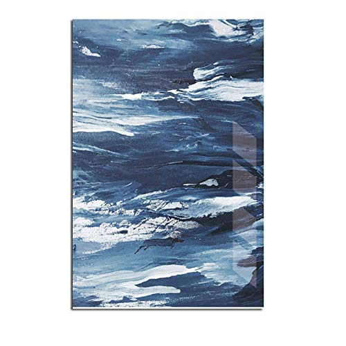 N / A Abstract Canvas Blue Painting Reflection Poster Print Picture Living Room Art Wall Home Decoration Frameless 21X30 CM