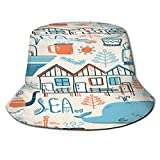 PUIO Sombrero de Pesca,Vector Doodle Ilustración Escandinavo del Mar del Norte,Senderismo para Hombres y Mujeres al Aire Libre Sombrero de Cubo...