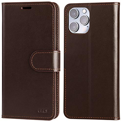 """OQQE Compatible with iPhone 12 Pro Max 6.7"""" Wallet Case 5G,Cowhide Genuine Leather Folio Flip Cover Shell [RFID Blocking] Credit Card Holder [Kickstand Function]with Folding,Men Business Coffee Brown"""