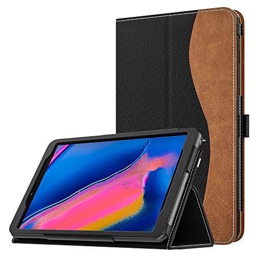 MoKo Cover per Samsung Galaxy Tab A with S Pen 8.0 SM-P200 (Wi-Fi)/SM-P205 (LTE) 2019, Custodia Pieghevole, a Piedi Supporto, con Anello per Penna, per Galaxy Tab A with S Pen 8.0 - Nero & Marrone