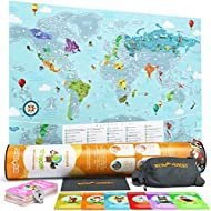 Newverest Scratch Off Map of The World - Stunning World Map Poster - Travel Map Scratch Off Art for Kids & Adults - Unique Kids Map Fits 24 x 17 inches Frame, Comes with Accessories & Gift Tube