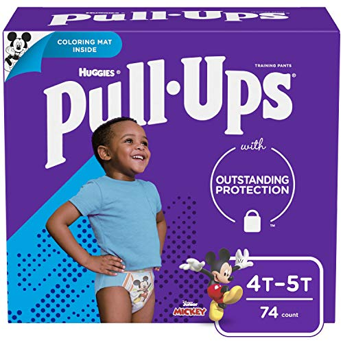 Pull-Ups Boys' Potty Training Pants Training Underwear Size 6, 4T-5T, 74 Ct