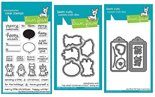 Lawn Fawn'Say What?' Christmas Critters Clear Stamps, Coordinating Dies and Coordinating'Say What' Gift Tags, Bundle of Three Items (LF1778, LF1779, LF1780)