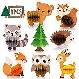 Monkey Home 8 piezas de centro de mesa de Woodland Animales de panal de abeja, criatura del bosque, decoraciones de mesa 3D, para fiestas de cumpleaños, suministros