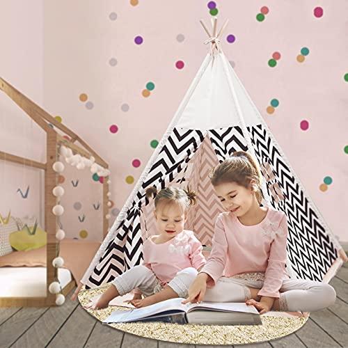 Q-FQRM Tienda de campaña para niños con alfombra para niños y niñas, casa de juegos para interiores y exteriores, diseño de rayas blancas, decoración de sala de juegos TiPi Tepee (blanco)