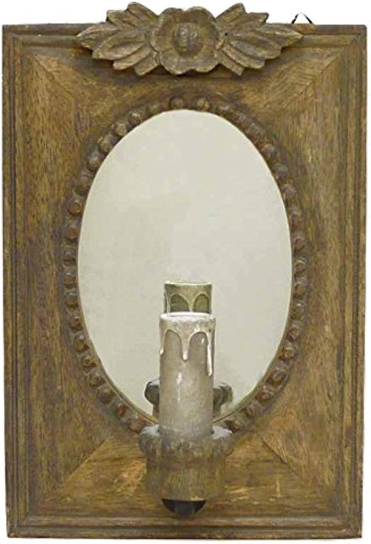 Better & Best 2201057–Wandleuchte mit 1Licht mit Platte eckig mit Spiegel oval, natur