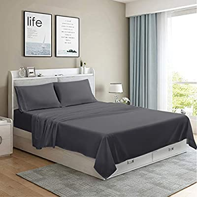 MOONCAST 4 Pieces Queen Bed Sheet-Extra Soft and Hotel Luxury Feeling-Durable Machine Washable Microfiber-Dark Gray Bed Sheet Set(Queen,Dark Gray)