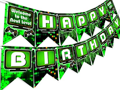POP parties Gaming Party Happy Birthday Banner - Video Game Party Supplies - Game Truck Party Decorations - Gaming Green
