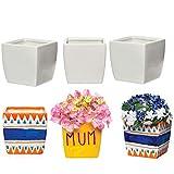 Baker Ross Macetas de porcelana cuadradas, perfectas para decoraciones infantiles creativas (pack de 6)