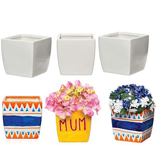 Baker Ross Viereckige Porzellan-Blumentöpfe für Kinder zum Gestalten, Bemalen und Verzieren (6 Stück)