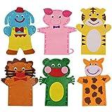 HEALLILY 6Pcs Kit de Fabricación de Marionetas de Mano Set de Fabricación de Marionetas de Calcetín de Animales Marionetas de Mano Artesanales Creativas Marionetas de Bricolaje Muñecas