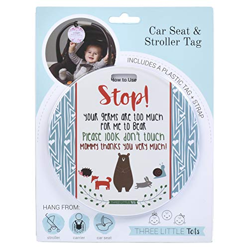 Étiquette « Three Little Tots » – Étiquette « Stop Your Germs Are Too Much For Me To Bear » (Baby Safety No Touching Newborn, Baby Shower Tag, Baby Preemie No Touching Car Seat Tag)
