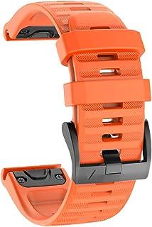 No Branded Correa de Reloj, Reemplazo de Silicona Suave de 26mm de Ancho, Pulsera Deportiva Transpirable para Garmin Fenix 6X/6X Pro, Fenix 5X/5X Plus, Fenix 3/3 HR, Ajuste Rápido-Naranja