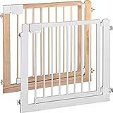 ib-style - cancello di sicurezza/cancelletto securella kolby | 94-100 cm | sigillato doppio | legna naturale