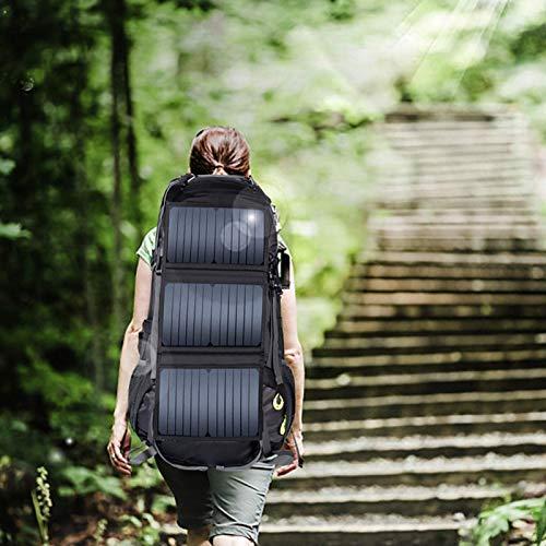 SALUTUYA Mochila con energía Solar con Cargador Solar de 20 W Mochila con energía Solar de 68 L Mochila de Viaje Impermeable Nylon Ligero para Ancianos, para Caminar, Vacaciones, Senderismo