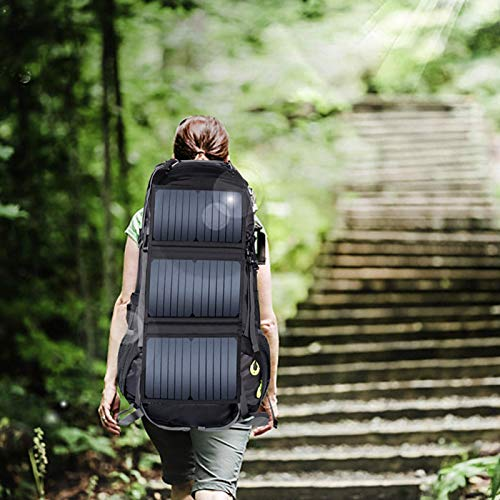 FOLOSAFENAR Mochila de Viaje Impermeable Mochila Solar para Senderismo Mochila de Nailon 68L Mochila con energía Solar Ligera, para Ciclismo, Correr, Deportes al Aire Libre para niño y niña