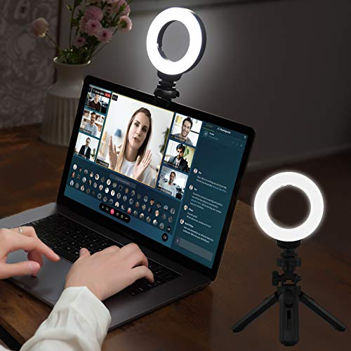 MUIFA Video Conference Lighting, Selfie Ring Light with Tripod for Remote Working, Clip on Computer Light Zoom Call Lighting with Clamp Mount for Laptop/iPad/Office/Live Streaming/YouTube