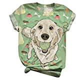 aihihe Women's Funny Animal Graphic Tees Casual Summer Short Sleeve Cute Dog Printed T-Shirt Tops for Women Teen Girls