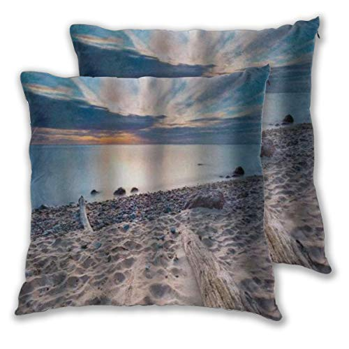 LOSUMIGE Throw Pillow Covers Set of 2 Seascape Theme Sea Shore With Driftwood Trees Trunks Cloudy Sky Pillowcase Decorative Cushion Cover without Pillow 60cm x 60cm