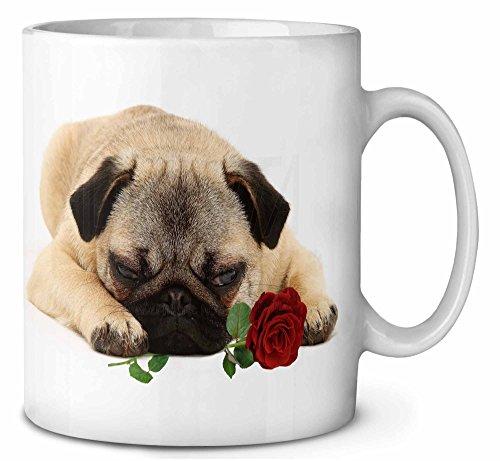 Mops-Hund mit einer roten Rose Kaffeetasse Geburtstag/Weihnachtsgeschenk