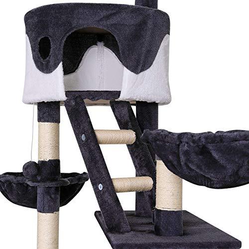 Katzenkratzbaum, Kratzbaum für Katzen, deckenhoch (höhenverstellbar mit Deckenspanner) 240-260 cm (grau / weiß) - 3