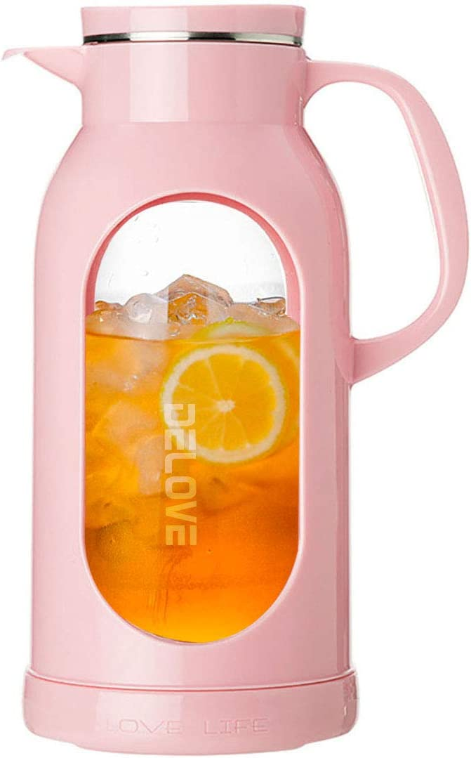 Heat Resistant All-glass Liner -18//8 Stainless Steel Filter Lid Delove 68 Ounces Glass Pitcher with Shatterproof Shell Great for Ice Tea,Hot//Cold Water and Juice Beverage Black